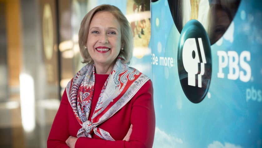 PBS Chief Executive Paula Kerger at the public TV service's corporate headquarters in Crystal City, Va.