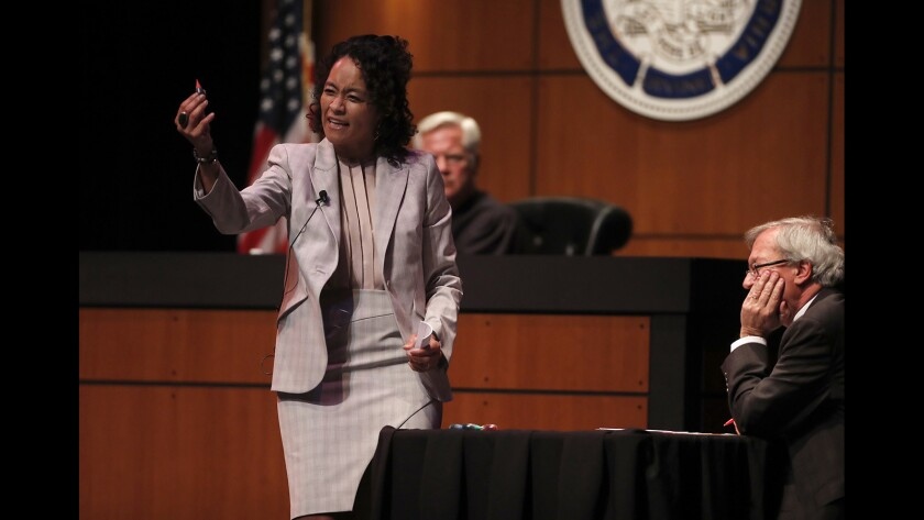 Song Richardson, dean of the UC Irvine School of Law, plays Hamlet's defense lawyer during a mock murder trial of Shakespeare's fictional Danish prince on Wednesday at the Irvine Barclay Theatre.