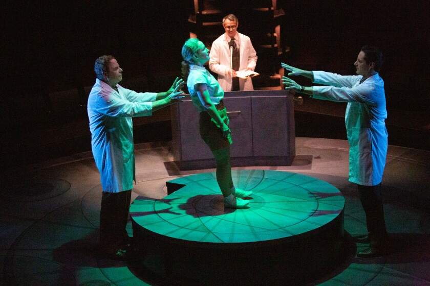 """Michael Pemberton (from left), Morgan Hallett, Matthew Boston and Peter Rini in the Old Globe's """"They Promised Her the Moon."""""""