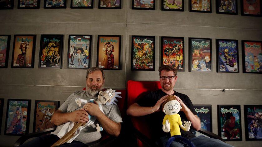 BURBANK, CA JULY 6, 2017: Portrait of Dan Harmon, left, and Justin Roiland, right, creators of th