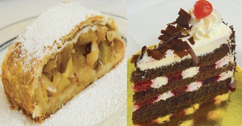 Dessert options at Kaiserhof Restaurant include fresh-baked Apple Strudel (left) and Black Forest Cake.