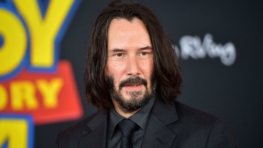"""Keanu Reeves attends the premiere of Disney and Pixar's """"Toy Story 4"""" on June 11."""