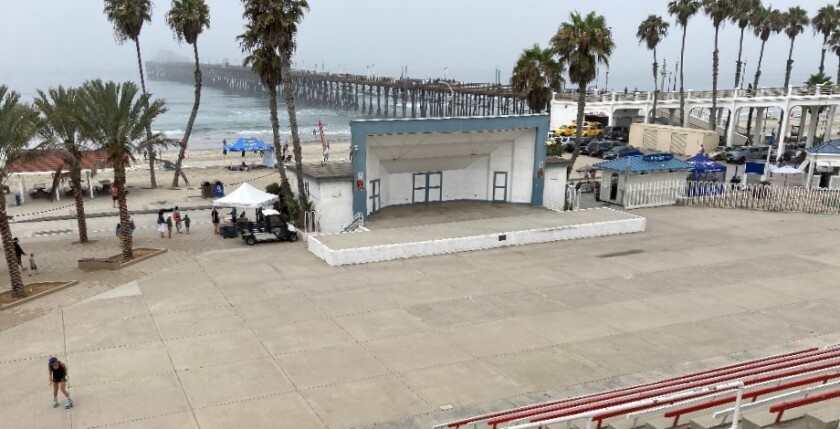 A lone skater practices at Oceanside's Junior Seau Beach Bandshell amphitheater in August.