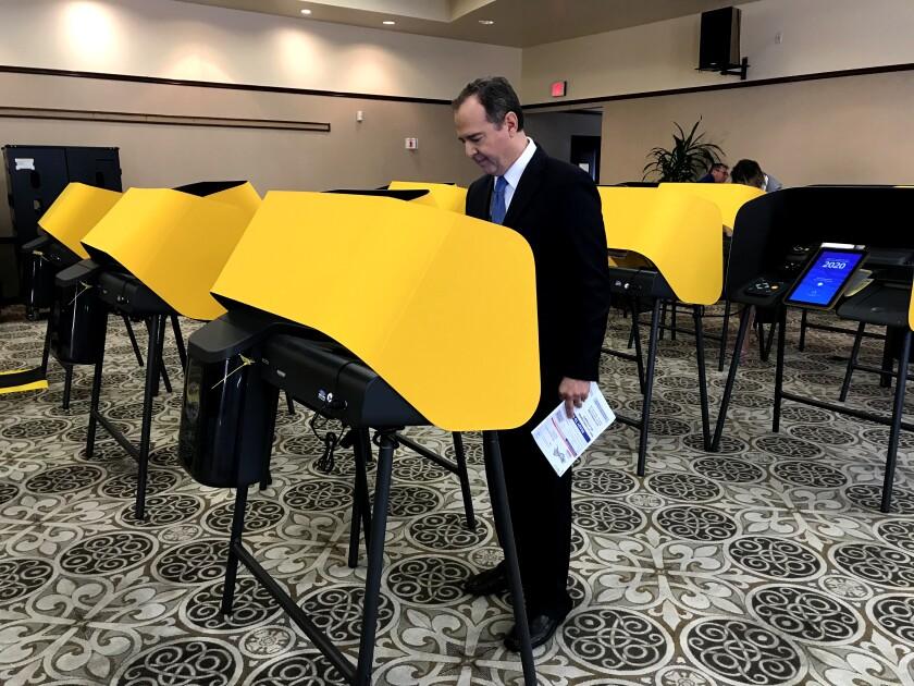 Adam Schiff casts his primary vote in Burbank.