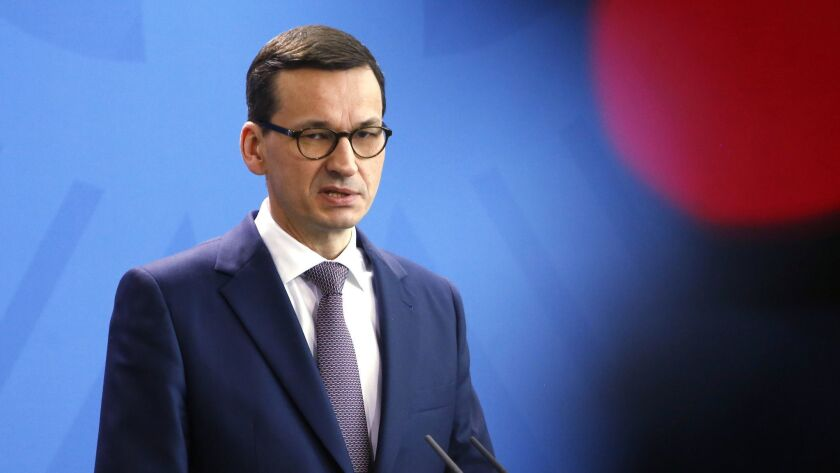 FILE - In this file photo dated Friday, Feb. 16, 2018, Polish Prime Minister Mateusz Morawiecki spea