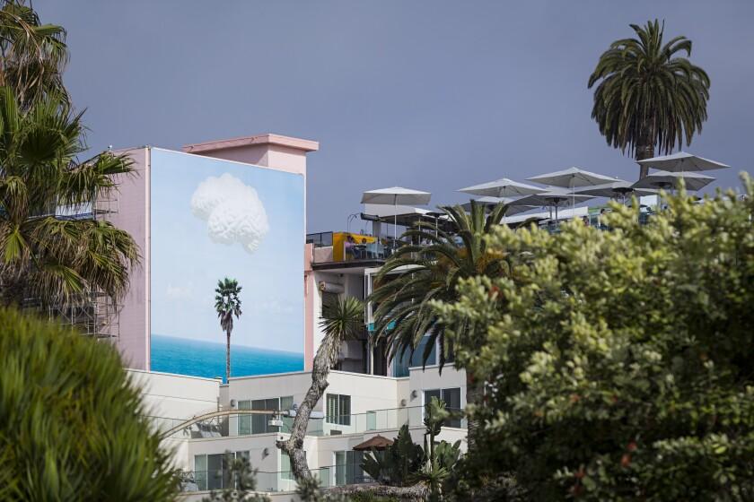 "Murals of La Jolla: John Baldessari's ""Brain/Cloud (with Seascape and Palm Tree)"""