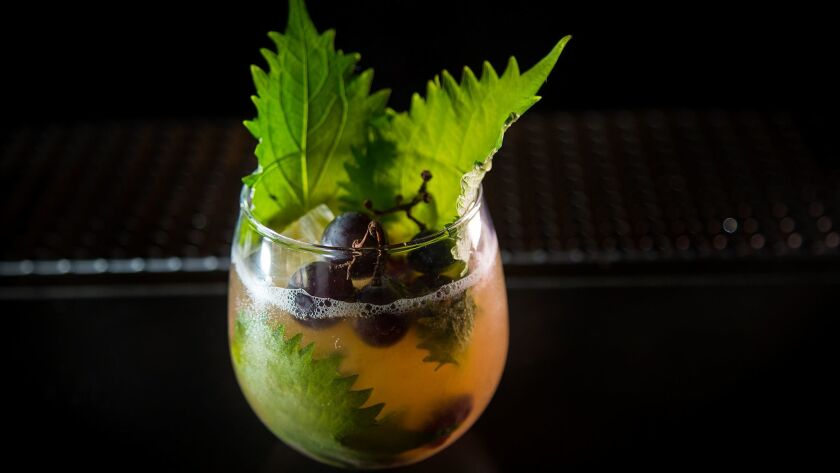 Gabriella Mlynarczyk's non-alcoholic cocktail contains Seedlip, Kyoho grapes and shiso leaves at Accomplice Bar in Mar Vista.