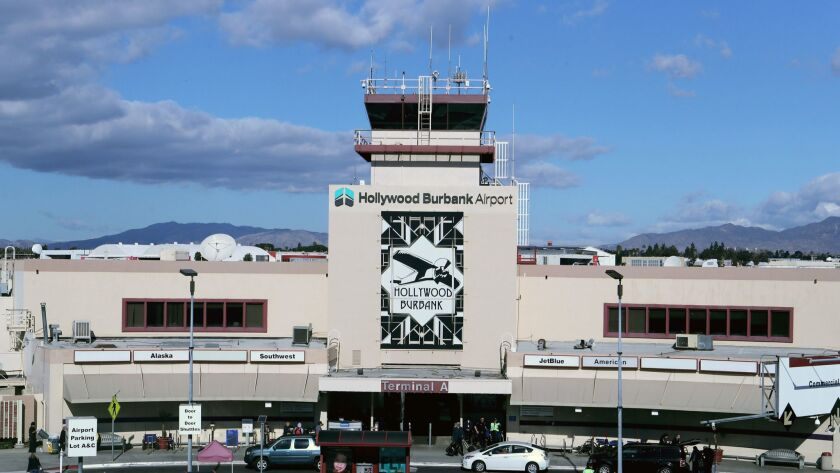 The Hollywood Burbank Airport has a new sign, as seen on the main tower of the airfield, in Burbank