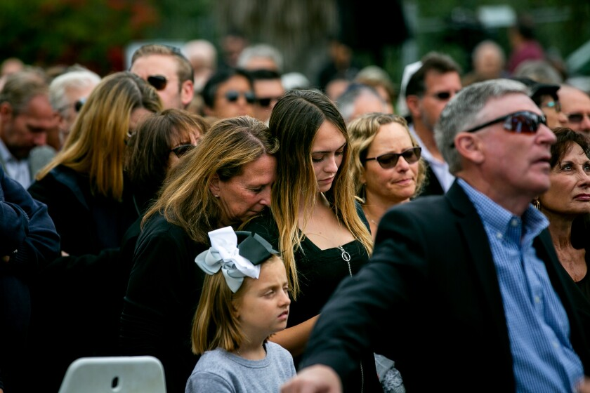 Mourners gather outside of Chabad of Poway for a memorial service for Lori Gilbert Kaye on April 29, 2019 in Poway, California. Kaye was killed on Saturday when a gunman opened fire inside the synagogue.