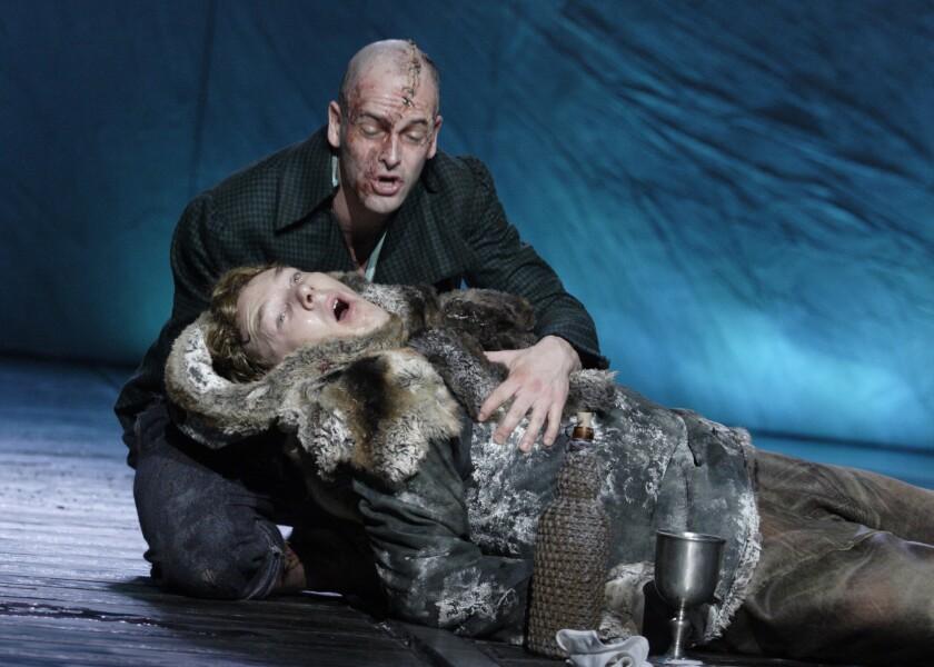 """Jonny Lee Miller, top, and Benedict Cumberbatch in """"Frankenstein"""""""