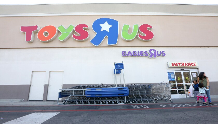 Shoppers visit the Toys R Us in Burbank on Monday, March 19, 2018. The chain has declared bankruptc