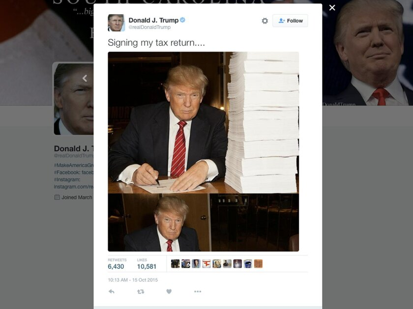 This image from Republican presidential candidate Donald Trump's campaign shows Trump signing his tax return. Former Republican presidential candidate Mitt Romney offered Republican presidential candidates this advice about a hard-won lesson: releasing tax returns before the primaries elections avo