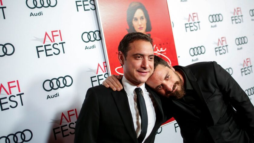 "Pablo Larraín, right, with his brother and producer, Juan de Dios Larraín, at the premiere of ""Jackie"" in Hollywood."