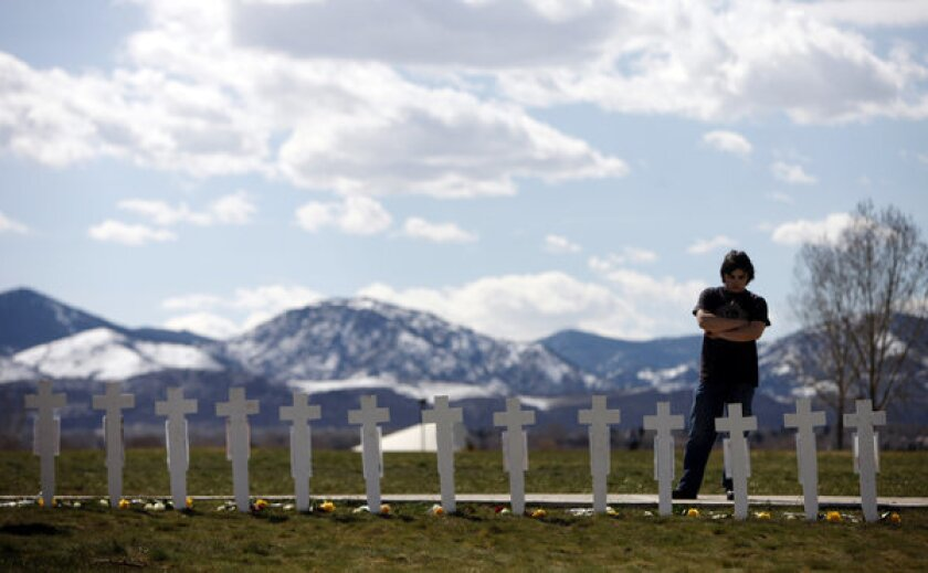 A memorial for Columbine shooting victims.