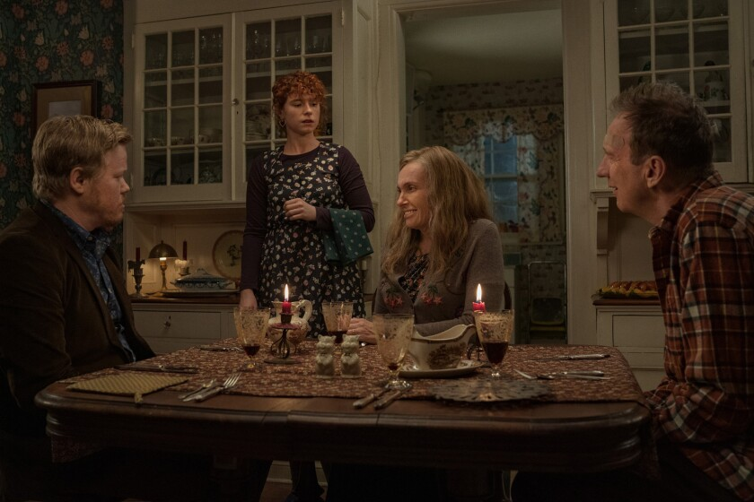 "Jesse Plemons, from left, Jessie Buckley, Toni Collette and David Thewlis in the movie ""I'm Thinking of Ending Things."""