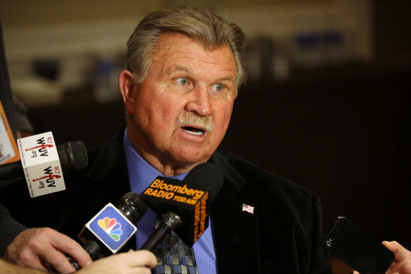 Mike Ditka is interviewed at the NFL Super Bowl XLVIII media center on Jan. 29, 2014.