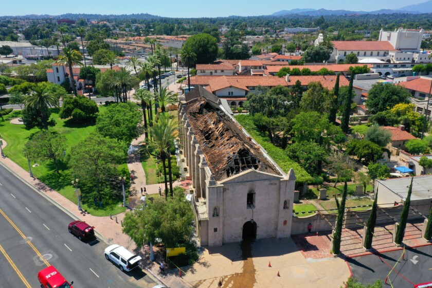 Fire burned most of the roof and interior of the 249-year-old San Gabriel Mission