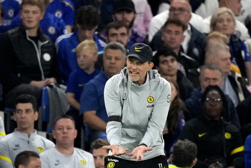 Chelsea's head coach Thomas Tuchel reacts during the English League Cup third round soccer match between Chelsea and Aston Villa at Stamford Bridge Stadium in London, Wednesday, Sept. 22, 2021. (AP Photo/Frank Augstein)