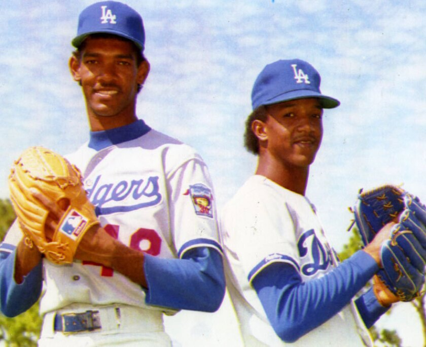 Ramon Martinez, left, shown alongside brother Pedro with the Dodgers in 1992, three years before his no-hitter.