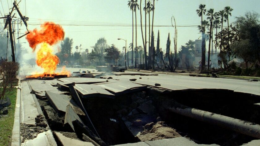 After the 1994 Northridge earthquake, a ruptured gas main caught fire behind a crater in the middle of the 11600 block of Balboa Boulevard in Granada Hills. Several nearby homes burned.