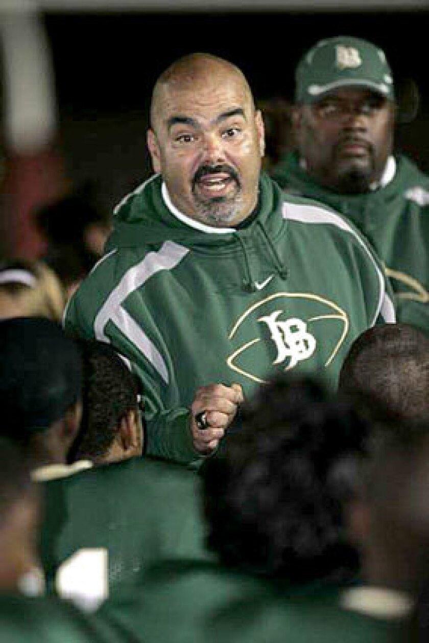 "Long Beach Poly football Coach Raul Lara says public schools seek ""a fair playing field"" with private schools."
