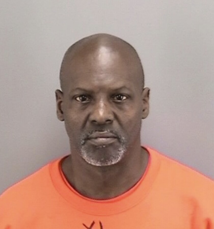 This undated photo released by the San Francisco Police Department shows Jonathan Amerson. Police said Monday, March 2, 2020, they arrested a second suspect in the San Francisco robbery of an elderly Asian man that was caught on video and posted on social media. Amerson, 56, turned himself in Sunday and was booked for investigation of two counts each of robbery and elder abuse, police said in press release. Authorities said Amerson is suspected of robbing the same victim of his recyclables about two months ago in the same area. (San Francisco Police Department via AP)