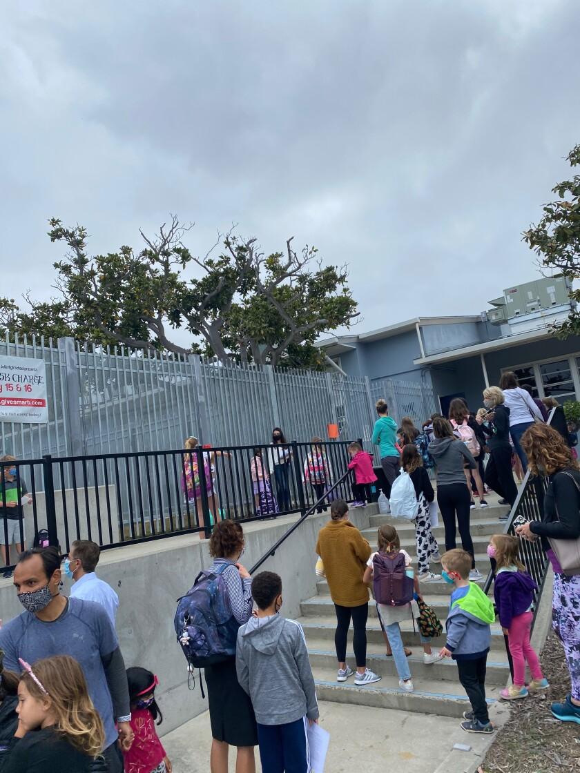 Students go to Bird Rock Elementary School in La Jolla in April.