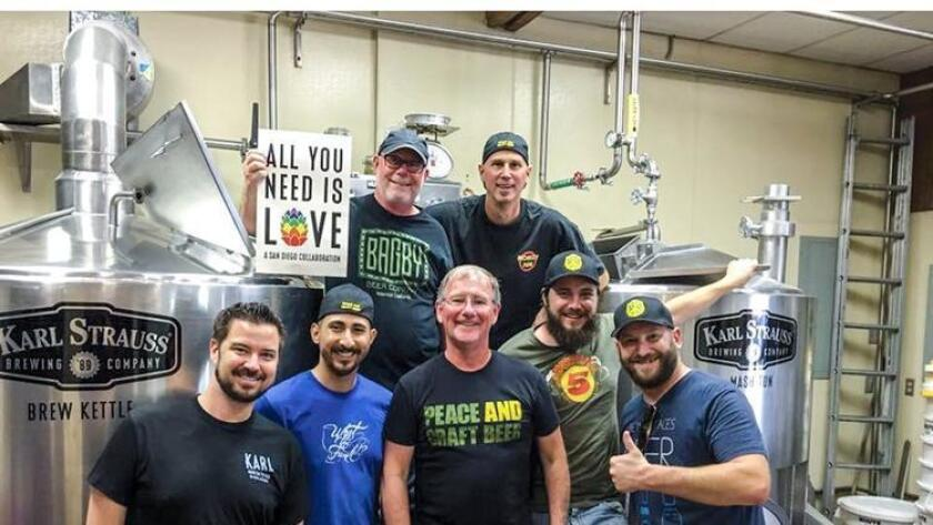 """Brewers from Hillcrest Brewing and Karl Strauss Brewing collaborate on """"All You Need Is Love,"""" a beer to benefit those affected by the tragedy in Orlando. (/ Karl Strauss/Hillcrest Brewing)"""