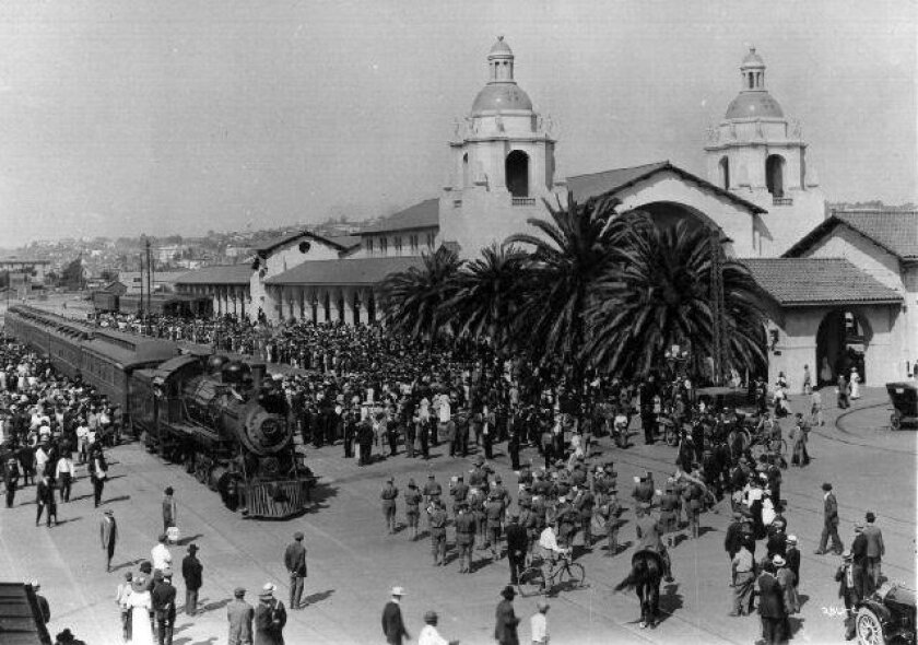 The first San Diego & Arizona Railway through passenger train arrived at the Santa Fe Depot on Dec. 1, 1919, to open the line.