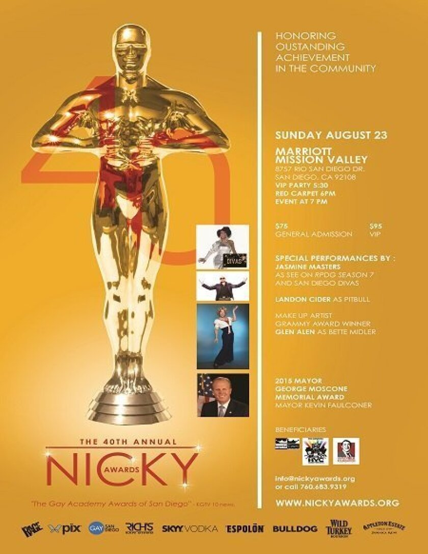 This is the invitation to Sam Diego's  40th annual Nicky Awards on Aug. 23.