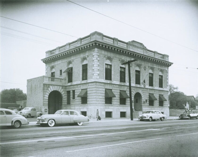The old Highland Park police station, which houses the Los Angeles Police Museum, is shown.