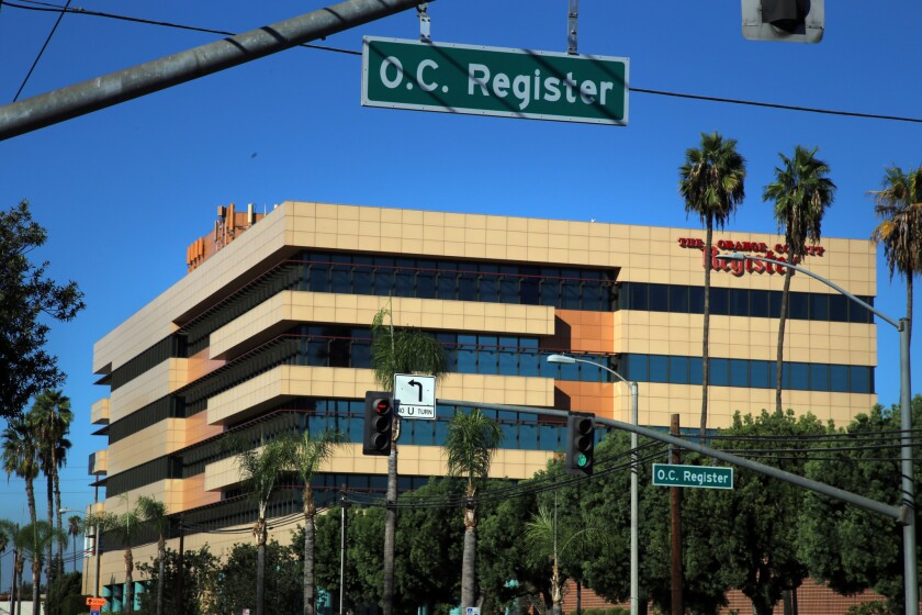 The Orange County Register building in Santa Ana.