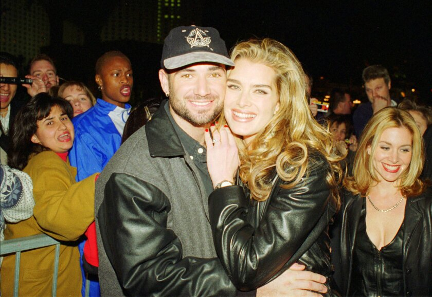 Andre Agassi and Brooke Shields arrive for the grand opening of the Official All Star Cafe in Las Vegas in 1996.