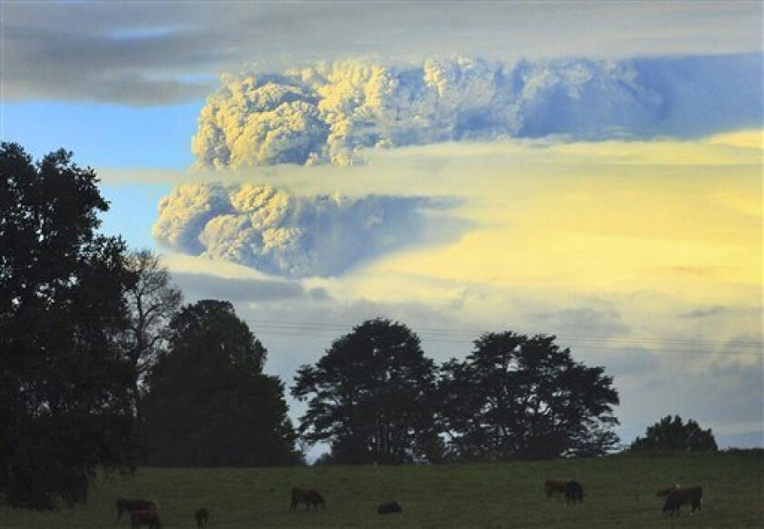 A column of smoke and ashes comes out from the Puyehue volcano, some 1,100 kilometers south of Santiago, Chile, Saturday, June 4, 2011. Authorities have evacuated about 600 people living nearby the volcano. There have been no reports of injuries. (AP Photo/Martin Iniguez)