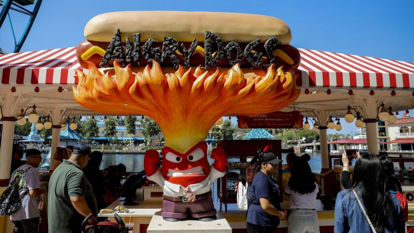 """ANAHEIM,CA --THURSDAY, JUNE 21, 2018--An """"angry Dogs"""" concession stand is represented by the charact"""