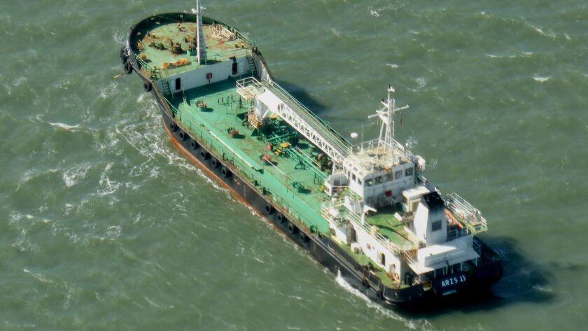 The Aris 13 oil tanker in harbor in Gladstone, Australia, in 2014.