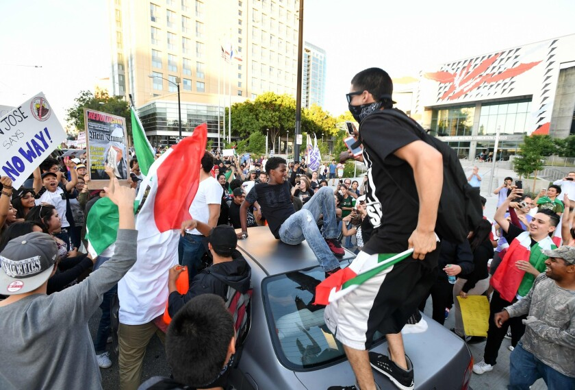 Violent protests following a Donald Trump rally in San Jose drew widespread bipartisan condemnation.
