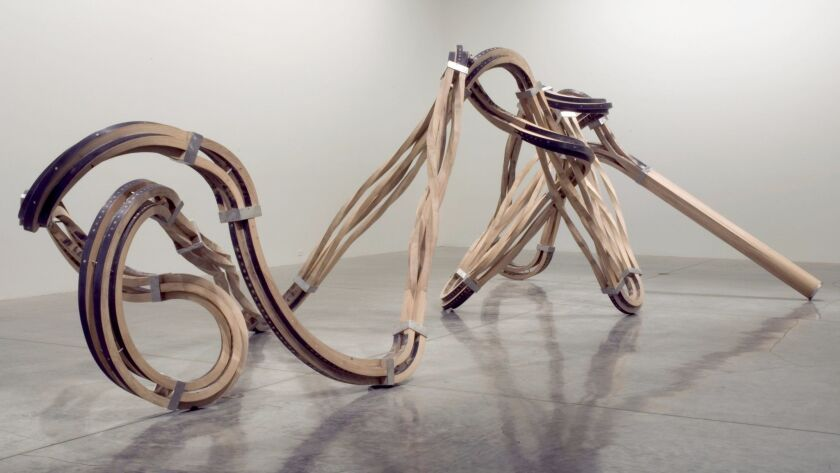 Richard Deacon, Dead Leg, 2007. Steamed oak, stainless steel. Courtesy of the Artist and L.A. Louver