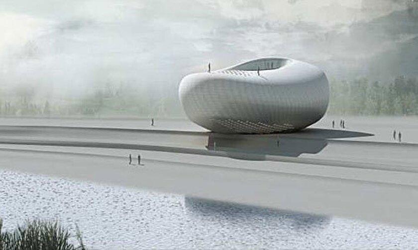 <b>NOVELTY:</b> Pei Zhu's proposal for the Art Museum of Yue Minjun resembles a river stone.