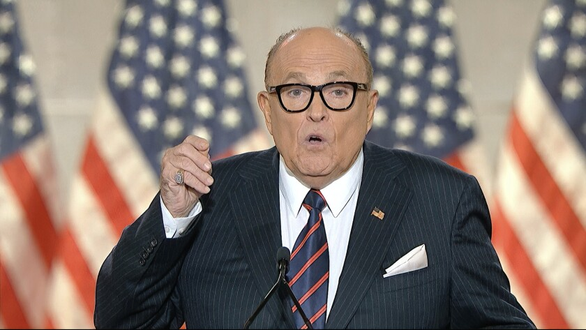 Former New York City Mayor Rudy Giuliani, personal attorney to President Donald Trump speaks from New York.