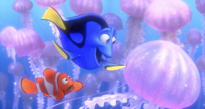 """Marlin (voiced by Albert Brooks) and Dory (Ellen DeGeneres) in the movie """"Finding Nemo."""""""