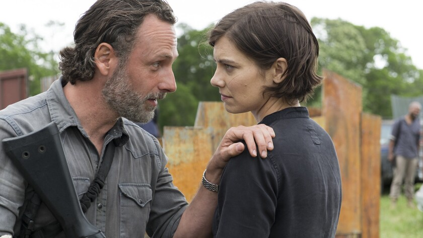 "Andrew Lincoln, left, and Lauren Cohan in ""The Walking Dead"" on AMC."