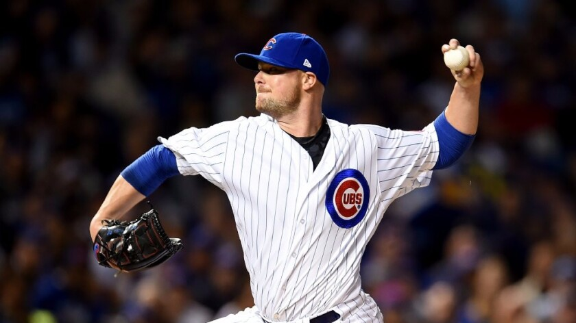 Left-hander Jon Lester will start for the Chicago Cubs in Game 1 of the National League Championship Series against the Dodgers on Saturday.
