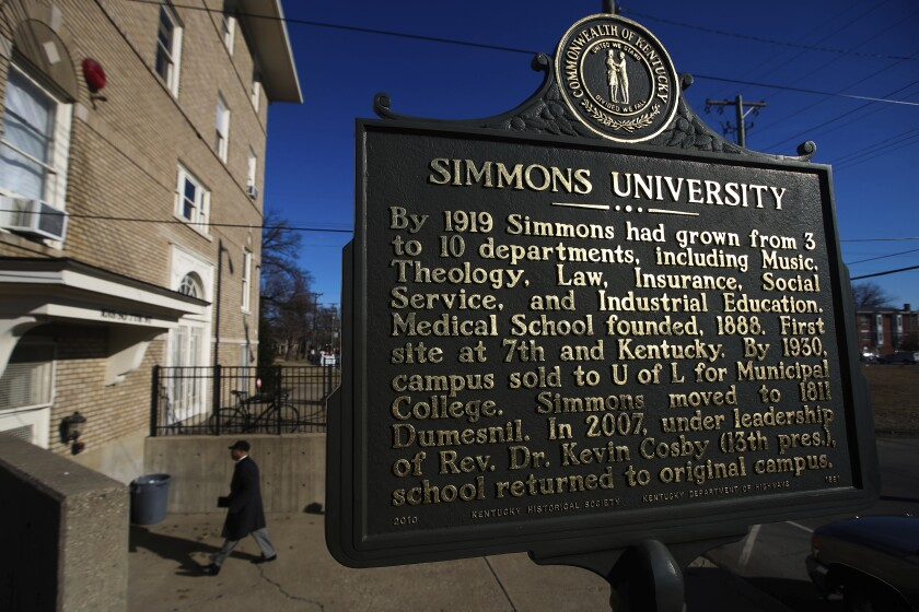Attendants make their way in to Simmons College of Kentucky on Monday, Feb. 24, 2014, in Louisville, Ky., for the official ceremony celebrating the school's accreditation as the first private black college in the state. Optimism for transformational funding for the nation's historically Black colleges was running high after the Biden administration included $45 billion for the schools in its massive multitrillion dollar spending plan. That outlook quickly turned gloomy as the funding soon got caught up in Democratic infighting over the size of the economic package and what it should cover. The latest iteration of the bill includes just $2 billion for Black colleges, and even that amount would be reduced to competitive grant funding rather than direct allocations. (Alton Strupp/The Courier-Journal via AP)