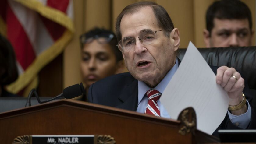 House Judiciary Committee Chairman Jerrold Nadler (D-N.Y.) leads a hearing on April 3.