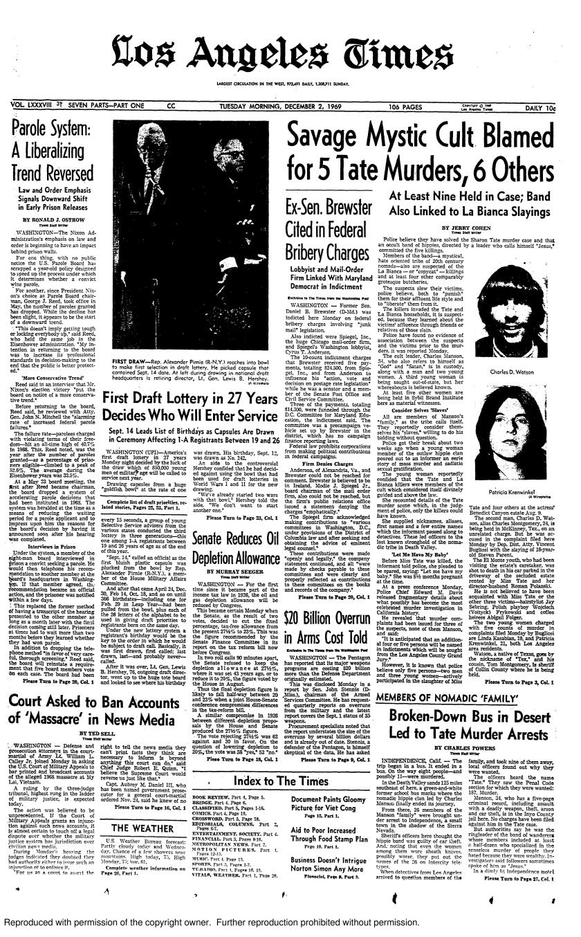 The front page of the Los Angeles Times on Dec. 2, 1969