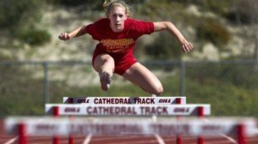 CCHS hurdler Hannah Labrie-Smith. Photo courtesy of Cathedral Catholic High School. Photo by Sean M. Haffey, special to the Del Mar Times/Carmel Valley News/Solana Beach Sun