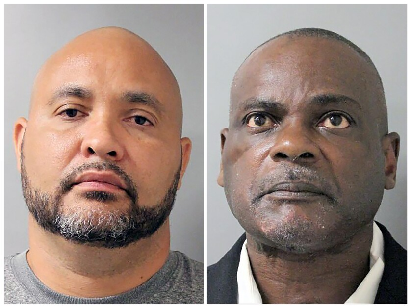 FILE - This combination of undated file photos provided by the Houston Police Department shows Steven Bryant, left, and Gerald Goines, in Houston. A grand jury has indicted former Houston Police Officers Bryant and Goines for their roles in a deadly January 2019 drug raid that killed a couple, prosecutors announced Wednesday, Jan. 15, 2020. (Houston Police Department via AP, File)