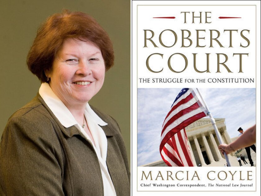 """Author Marcia Coyle and the cover of her book, """"The Roberts Court."""""""