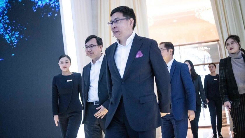 Richard Yu, CEO of the Huawei consumer business group, arrives for a news conference launching new 5G Huawei products in Beijing in January.